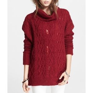 Free People Red Distressed Cowl Neck Sweater